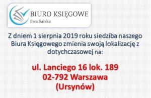 Zmiana adresu naszego Biura